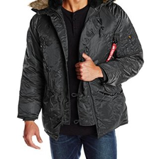 Alpha Industries Men's N-3B Parka Jacket, Black