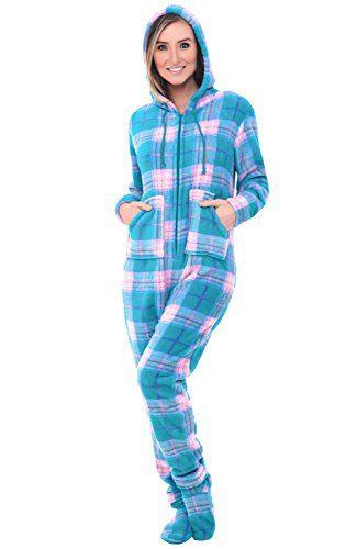Alexander Del Rossa Women's Warm Fleece One Piece Footed Pajamas