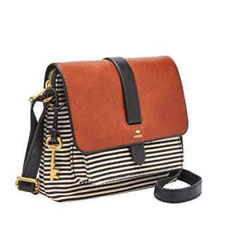 Fossil Women's Kinley Leather/Fabric Small Crossbody Handbag, Black Stripe