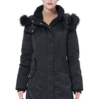 Orolay Women's Down Jacket with Removable Hood Winter Down Coat Black L