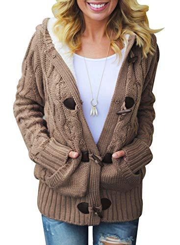 SIDEFEEL Women Button Up Cardigan Hooded Sweater Coat Outwear