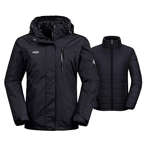 Wantdo Women's Interchange Jacket 3-in-1 Winter Coat Wind Block Warm Anorak with Detachable Puffer Liner Insulated Hoodie(Black, Medium)