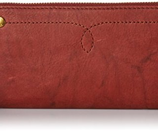FRYE Women's Campus Rivet Zip Wallet, Burnt Red