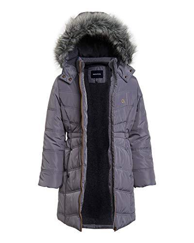 Calvin Klein Little Girls' Long Puffer Jacket, Open Dark Grey