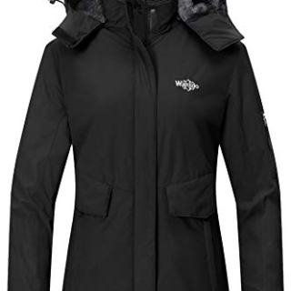 Wantdo Women's Waterproof Ski Jacket Fleece Lined Raincoat