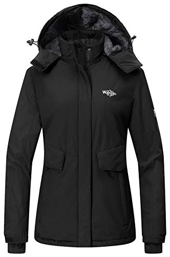 Wantdo Women's Waterproof Ski Jacket Fleece Lined Raincoat