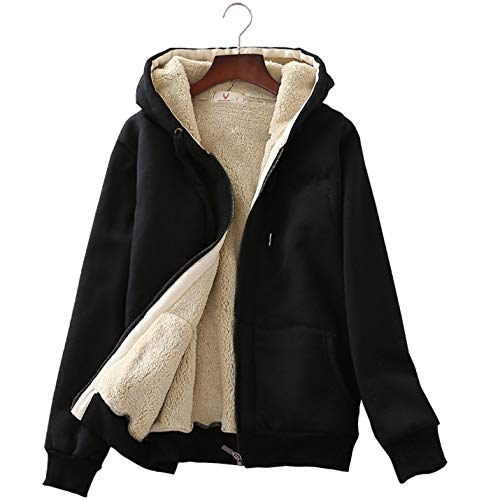 Flygo Women's Classic Casual Thick Warm Full Zip Sherpa Lined Hooded