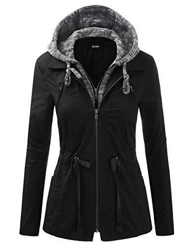 FASHION BOOMY Women's Zip Up Safari Military Anorak Jacket