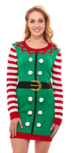 just one Women's Knit Ugly Christmas Sweater Dress Xmas for Women