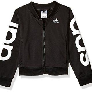 adidas Girls' Big Bomber Jacket, Black Heather