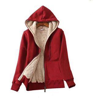 Flygo Women's Casual Warm Thick Sherpa Lined Full Zip Hooded Sweatshirt