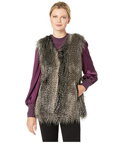 Via Spiga Women's Faux Fur Vest Black Multi Small