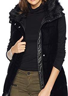 Sam Edelman Vest w/Combo Velvet Front Poly Nylon Back Black