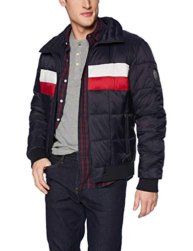 Tommy Hilfiger Men's Quilted Bomber Hoody Color Block