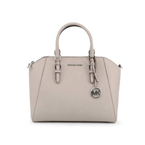 Michael Kors Large Ciara Top Zip Womens Saffiano Leather Satchel (CEMENT)