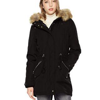 Royal Matrix Women's Mid-Length Detachable Faux Fur Winter Parka Jacket with Ribbing (Black, 14)