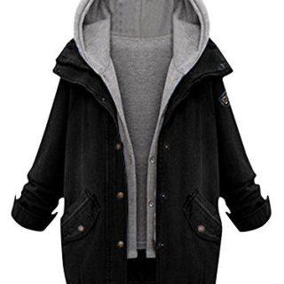 Milumia Women's Hooded Drawstring Boyfriend Trends Jean Swish Pockets