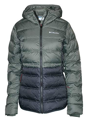 Columbia Women's Sunrise Peak Down Insulated Hooded Winter Jacket (Medium, Black/Nori)
