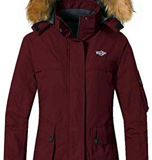 Wantdo Women's Ski Jacket Waterproof Windproof Windbreaker Hoodie Wine Red XL
