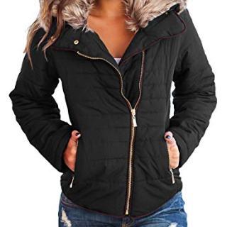 Sidefeel Women Faux Fur Collar Zip Up Front Coat Quilted Jacket