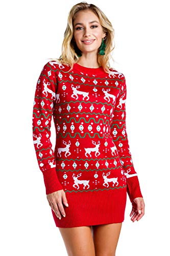 Women's Red Christmas Sweater Dress - Reindeer Ugly Christmas Sweater