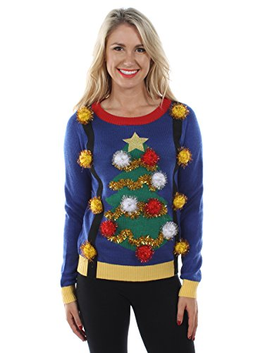 Tipsy Elves Women's Tacky Christmas Sweater - Christmas Tree Sweater