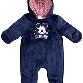Disney Mickey Mouse Newborn Baby Boys Snowsuit Plush Fleece Pram