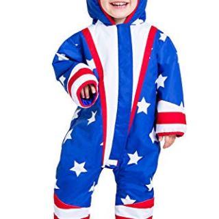 Tipsy Elves Toddler American Flag Ski Suit - USA Stars and Stripes Ski
