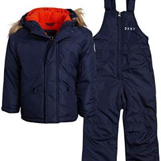 DKNY Boys 2-Piece Puffer Ski Jacket and Insulated Snowbib Snowsuit Set