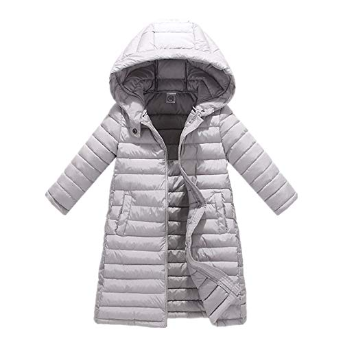 ZPW Girls' Winter Hooded Puffer Jacket Kids Quilted Parka Coat Gray