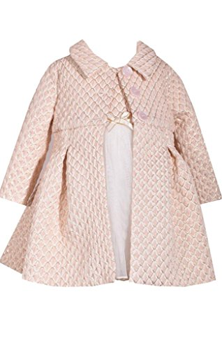Bonnie Jean Ivory and Gold Metallic Brocade Bodice Christmas Dress and Coat