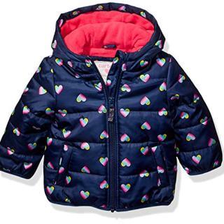 Carter's Baby Girls Fleece Lined Puffer Jacket Coat, Hearts on Navy