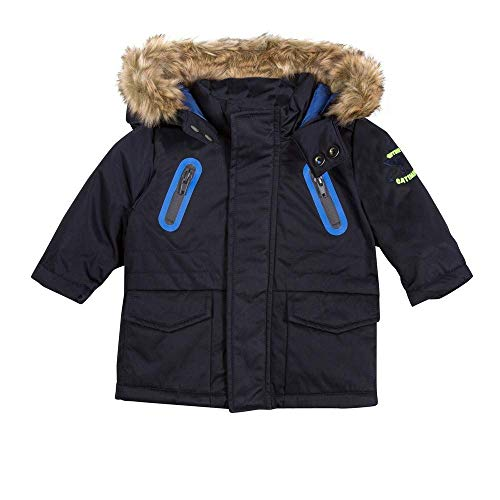 Catimini Faux Fur Hooded Twill Parka in Navy Blue