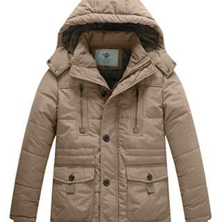 WenVen Boy's Winter Warm Padded Puffer Coat Thicken Hooded Parka