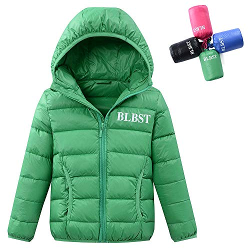 LISUEYNE Boy's Lightweight Packable Down Jacket Hooded Winter Coat