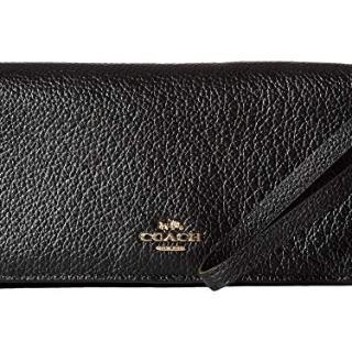 COACH Pebbled Leather Slim Wallet Li/Black One Size