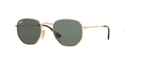 Ray-Ban HEXAGONAL 001 54M Gold/Green Sunglasses For Men For Women