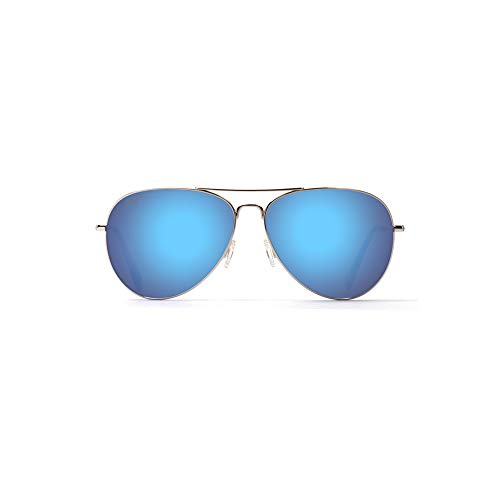 Maui Jim Sunglasses | Mavericks | Polarized Aviator Frame, Silver Blue Lense