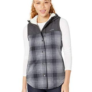 Columbia Women's Plus Size Benton Springs Overlay Vest, Chalk Check Print/Shark
