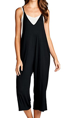 Loving People Solid Spaghetti Strap V Neck Loose Fit Capri Jumpsuit