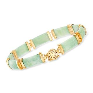 Ross-Simons Good Fortune Green Jade Bar Bracelet in 18kt Gold Over Sterling