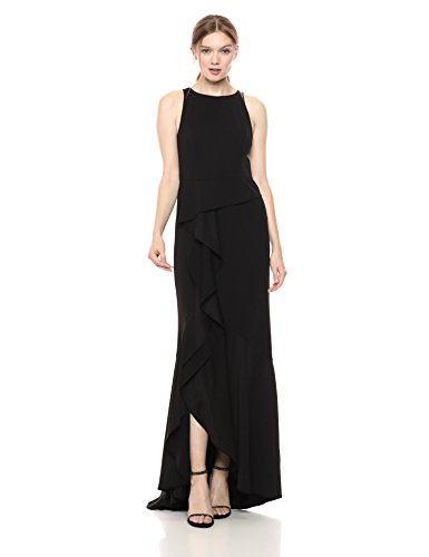 Adrianna Papell Women's Halter Knit Crepe Trumpet Gown, Black
