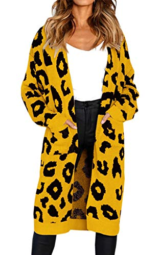 Angashion Women's Long Sleeves Leopard Print Knitting Cardigan Open Front