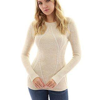 PattyBoutik Women Cotton Blend Crewneck Cable Knit Sweater
