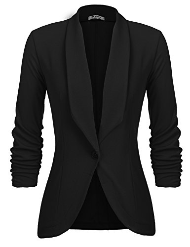 Beyove Women's Solid Stretch 3/4 Gathered Sleeve Open Blazer Jacket
