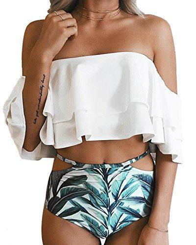 Tempt Me Women Two Piece Swimsuit High Waisted Ruffled Flounce Bikini