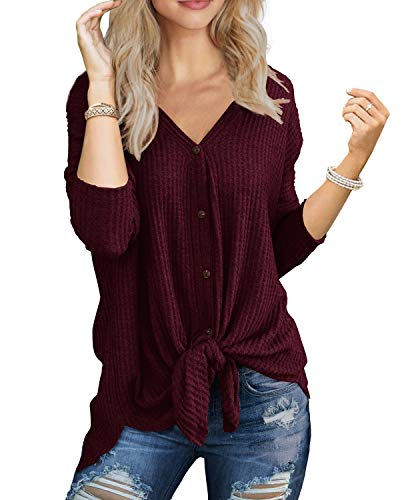 IWOLLENCE Womens Loose Henley Blouse Bat Wing Long Sleeve Button