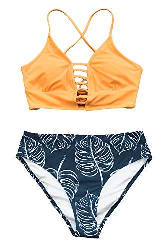 CUPSHE Women's Yellow and Leaves Print Lace Bikini Set Medium