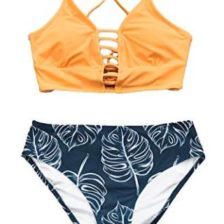CUPSHE Women's Yellow and Leaves Print Lace Bikini Set Medium