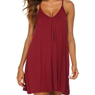 Ekouaer Womens V Neck Sleeveless Nightgown Sleepwear Summer Slip Night Dress
